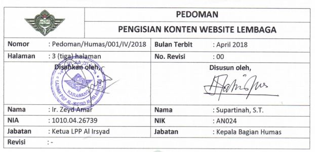 [PUBLISH] Pedoman Pengisian Konten Website Lembaga